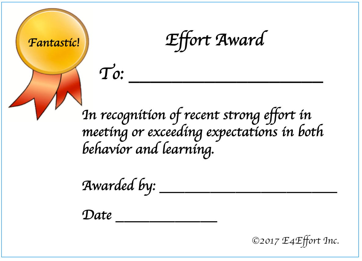 Recognition e4effort you may want to give recognition winners a small effort award certificate here is a template that you may use to print effort awards yelopaper Image collections